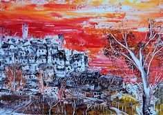 Sunset accumulation, Acrylic on Canvas panel, 25 x 35