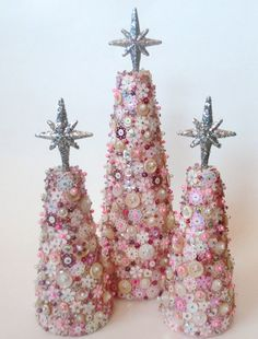 pink sparkly trees - this would be fun to make with beads and sequins