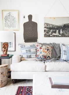 Eclectic and masculine living room details