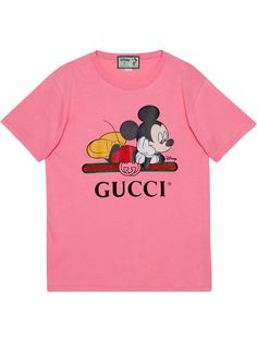 Gucci x Disney Mickey print oversized T-shirt - PINK T-shirt Trop Grand, Watch Cartoons, Gucci, Print Logo, The Good Old Days, Disney Mickey, Nice Tops, T Shirts, Short Sleeves