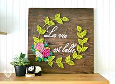 La vie est belle - New Ideas Pin Art String, Nail String Art, String Crafts, String Art Templates, String Art Patterns, Diy Crafts To Sell, Easy Crafts, Arts And Crafts, Ideias Diy