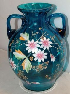 Vintage Bohemian hand painted blue glass 2-handled vase
