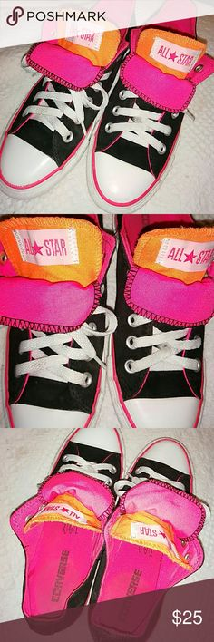 Converse - Multicolored Neon Unisex M5/W7 Converse,  used in good to excellent condition. There's a flaw on the right shoe as shown.  Photo #5 shoes a hole in the back of the right shoe.  Black with duo tongues in neon orange and pink.  Trimmed with white and a neon pink accent strip around sole. Converse  Shoes Sneakers