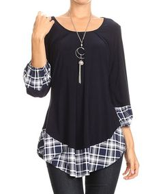 Navy & Navy Plaid Layered Top by One Fashion #zulily #zulilyfinds