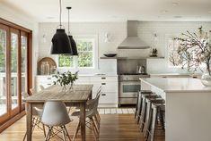 Sophie Burke Design - kitchen, white, grey, natural timber, black light fixtures