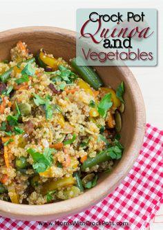 Crock-Pot-Quinoa-with-Vegetables crockpot quinoa, crock pots, olive oils, food, green beans, crockpot recipes, slow cooker, meal, vegetable recipes