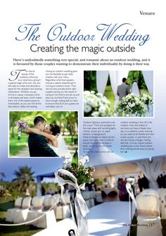 Have you always dreamed of an outdoor wedding? Wedding Locations, Romantic, Table Decorations, Outdoor, Outdoors, Romance Movies, Outdoor Games, Outdoor Life, Romances