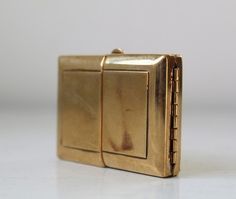 vintage 1940s hinged brass compact or tiny by Luncheonettevintage