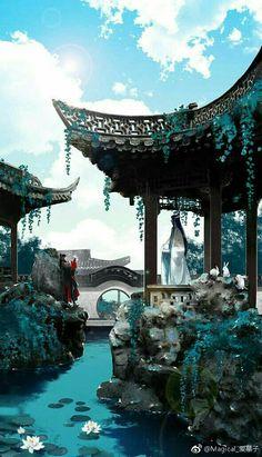 Grandmaster of Demonic Cultivation [BL] Fantasy Art Landscapes, Fantasy Landscape, Fantasy Artwork, Landscape Wallpaper, Scenery Wallpaper, Fantasy Places, Fantasy World, Magic Places, Art Asiatique