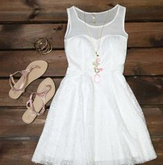 Cute short white dress with matching accessories