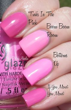 Essie Boom Boom Room vs China Glaze Bottoms Up vs Nicole by OPI Tink's In The Pink vs OPI If You Moust You Moust.