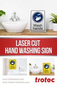 Handwashing is one of the best ways to prevent the spread of viruses and other common illnesses. Create this sign as a way to promote washing your hands. Trotec Laser, Hand Washing, Laser Cutting, Hands, Signs, Create, Shop Signs, Sign, Signage