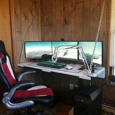 Here's an interesting setup sent in by @Connor_brogan_, I'm not sure if those chains are the only thing holding that desk up, I hope not. —————————————————————————————— ◽Photo Source: @Connor_brogan_ —————————————————————————————— #pcgaming #desksetup #gaming #game #gamer #gamingsetup #pc #pcmasterrace #computer #technology #clean #dreamroom #bestgamingsetupz #bestgamingsetups
