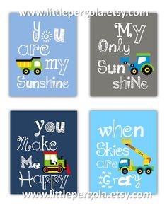 Items similar to Construction Wall Art for Boys Room, Construction Art Prints, You Are My Sunshine Art Prints Construction Vehicles, Truck Art 4 PRINTS ONLY on Etsy Big Boy Bedrooms, Kids Bedroom, Bedroom Ideas, Bedroom Designs, Bedroom Decor, Boy Rooms, Kids Rooms, Nursery Ideas, Rowan