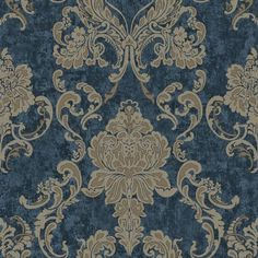 TGSIK Dark Blue Damask Design European Style Non-Woven Damask Wallpaper Home Decorations - - Amazon.com