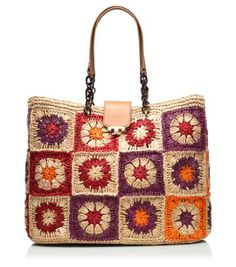 Fache Woven Tote -- I admit a fondness for colorful bags like these. Bag Crochet, Crochet Clutch, Crochet Handbags, Crochet Purses, Bag Patterns To Sew, Knitted Bags, Crochet Accessories, Handmade Bags, Purses And Bags