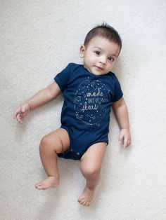 Made out of Stars baby bodysuit  Navy and Gold by yaymeeralee, $20.00