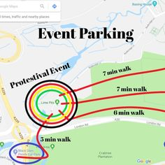 ONE day left!! Not long now  Car parking is very limited at the park. To accommodate everyone driving we have put together a little map of places to park within easy walking distance of the venue.  We want ensure everyones safety on the day and we also want to respect the surround area and residents - i.e do our best not to block the road ways.  Please k Car Parking, Respect, Distance, Safety, Walking, Map, Places, Security Guard, Location Map