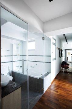 Hdb #bathroom #concrete #bathtub #mosaic #featurewall #singapore Impressive Hdb Bathroom Design Inspiration
