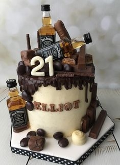 Liquor Cake With Mini Alcohol Bottles Themed Birthday Cakes In