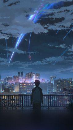 your name & your name . your name wallpaper . your name anime . your name kimi no na wa . your name aesthetic . your name quotes . your name wallpaper aesthetic . your name mitsuha Anime Sky, Anime Love, Manga Anime, Anime Stars, Animes Wallpapers, Cute Wallpapers, Iphone Wallpapers, Iphone Backgrounds, Live Backgrounds