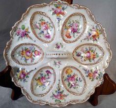 German-Franziska-Hirsch-Dresden-Porcelain-Handpainted-Egg-Plate-Server-Holder