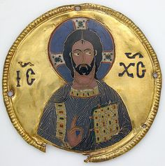 Medallion with Christ from an Icon Frame/ca.1100/Constantinople/Byzantine/This medallion of Christ is from a group of twelve that once surrounded an icon of the archangel Gabriel. The medallions may have been sent as a gift from the Byzantine court to the neighboring Christian state of Georgia