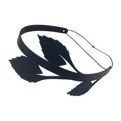 AW15 'Yukon' navy leather leaf hairband by The Season Hats