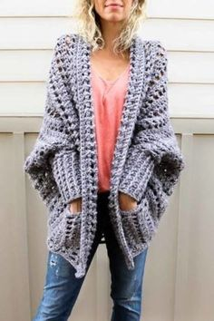 Creatively constructed from a simple rectangle, this flattering chunky crochet sweater comes together easily with zero shaping, increasing or decreasing. Free pattern from Make & Do Crew featuring Lion Brand Wool-Ease Tonal yarn.