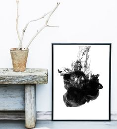Abstract Art Print, Instant Download, Printable Art, Black Abstract, Minimalist Poster, Wall Decor, Large Wall Print