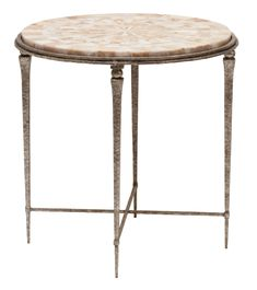 Yves Round Side Table - Hand-hammered Iron Base w/Shell or Pieced Agate Top