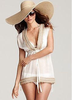 beach outfit, minus the silly hat.