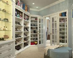 Closet: Shoe closet - french doors, blue and white