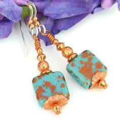Turquoise Copper Czech Glass Earrings Handmade Dangles Unique Jewelry Dog Designs - Jewelry on ArtFire Jewelry Design Earrings, Glass Earrings, Designer Earrings, Beaded Earrings, Fashion Earrings, Earrings Handmade, Handmade Jewelry, Unique Jewelry, Jewelry Ideas