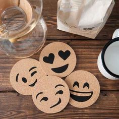You can make coaster emojis, paint it yellow then paint the face on and seal with mod podge or print off emoji faces and stick them on coasters then seal with emojis Wood Burning Crafts, Wood Burning Patterns, Wood Burning Art, Wood Projects, Woodworking Projects, Craft Projects, Woodworking Jigs, Cork Coasters, Drink Coasters