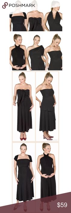 """Size Medium 6-WAYS-IN-1 BLACK MATERNITY DRESS NWT 6-Way-Dress - the most versatile maternity dress!  The BESTSELLING evening/occasion maternity dress.  Also... keep using after pregnancy.   Size: Medium Please watch YouTube video titled """"How to Wear Your Six Way Dress from fertilemind.com""""  :) A simply stunning maternity dress that can be worn 6+ ways, including as a skirt. Suits any occasion, any stage of pregnancy - and beyond. Built-in bust support.  Condition:  NEW WITH TAGS! Fabric…"""