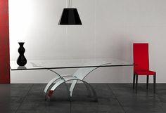 mesa de cristal y acero inoxidable