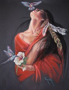 *Artist: Pamela MaCabe* native american art-woman with hummingbirds-pretty Native American Paintings, Native American Pictures, Native American Beauty, American Indian Art, Native American Indians, Native Indian, Native Art, Art Indien, Arte Latina