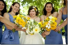 yellow zinnia bouquet