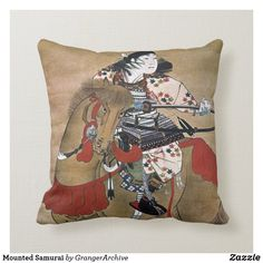 Mounted Samurai Throw Pillow