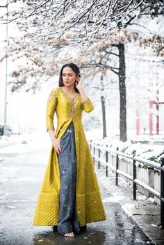 Citron Raw Silk Jacket & Palazzo Pants - WaliaJones