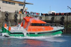 The French National Society for Sea Rescue (SNSM) new rollover boat named 'Yves et Francois Olivaux' is tested on November 13, 2015 in the port of the western city of Roscoff. Set to become the SNCM flagship, it is equipped with two powerful engines, which can propel the boat up to 25 knots, welcome up to 70 passengers and it includes a medicalized area.