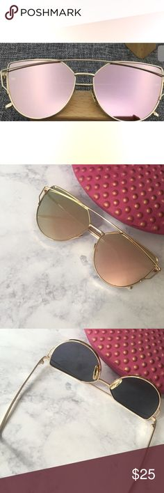Mirrored sunglasses in rose gold  100% Brand New and High Quality Designed by superior UV protection, featuring UV400 technology, protect your eyes from UVB sun-rays Material: Resin & Metal Size: Total width:143mm Lens Width:57mm Frame height:52mm Bridge:18mm Leg length:140mm other Accessories Sunglasses