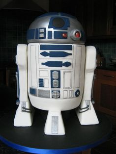R2-D2 - R2-D2 birthday cake for my brother-in-law. Body and head are vanilla cake with bc/raspberry filling and covered in fondant, the legs are riceKrispie treats and the feet were  polystyrene.  Thanks for looking x