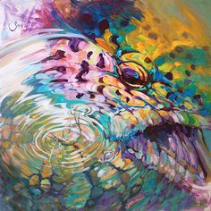 Brown Trout And Mayfly - Abstract Fly Fishing Art  (Print) by Mike Savlen