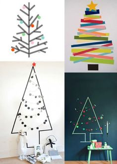 Masking-tape: 15 decorating ideas to copy Clay Christmas Decorations, Diy Christmas Tree, Simple Christmas, Winter Christmas, Masking Tape, Washi Tape, Cork Crafts, Diy And Crafts, Holiday Crafts