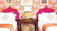 Orange and pink floral bedroom