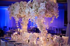 Dramatic bridal table centerpieces.