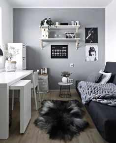 I really like this grey feature Wall- would love it in my home office