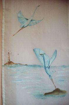 Idee in Atelier di Liz       : TENDA CON AIRONI AZZURRI (170cm x 55cm)